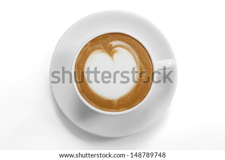 Coffee mug with latte art on white background,top view - stock photo