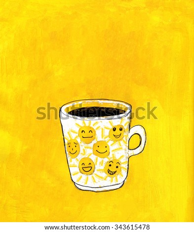 Coffee mug with suns painted on yellow acrylic background. Illustration for cooking site, menus and food designs. - stock photo