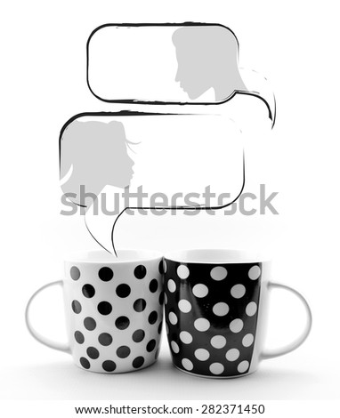 Coffee mugs with speech bubbles and faces isolated on white background - stock photo
