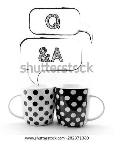 Coffee mugs with speech bubbles Q&A isolated on white background - stock photo