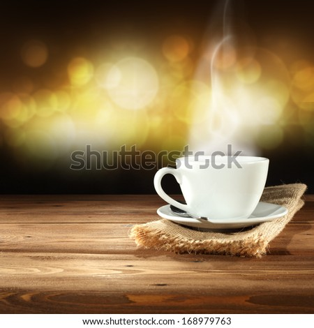 coffee napkin and gold lights
