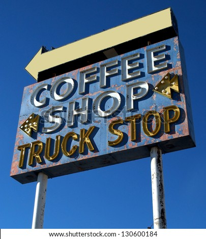 Coffee Neon Sign Old Signs - stock photo