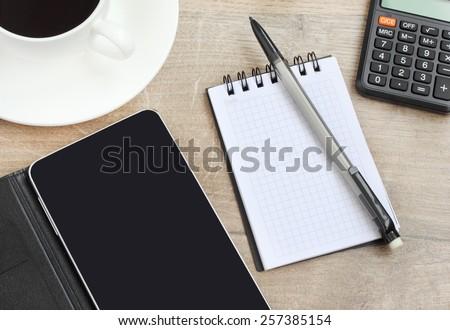 coffee notebook phone smartphone - stock photo