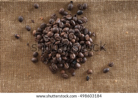 Coffee of Guatemala on grunge wooden background. roasted coffee beans on the table in perspective.
