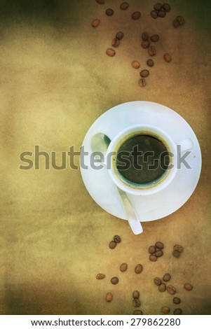 Coffee on rustic wooden background