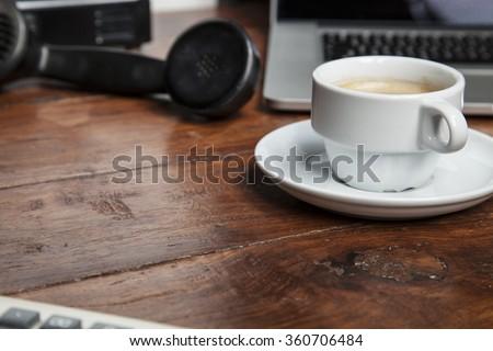 coffee on the desk - stock photo
