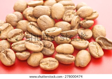 Coffee on the red background - stock photo