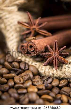 coffee  on the roasted coffee  beans background - stock photo