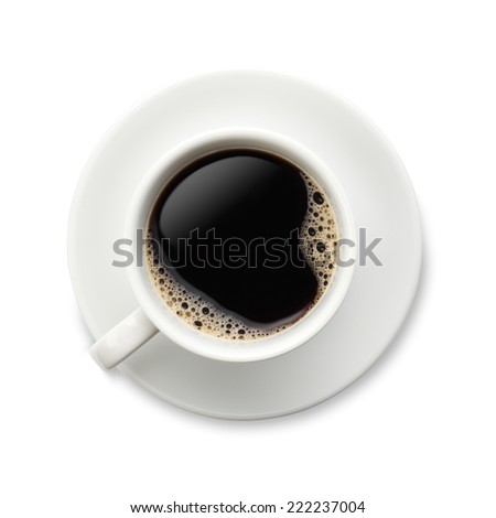 Coffee on white/Black Coffee in a white cup and saucer with bubbles