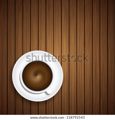 coffee on wooden background.