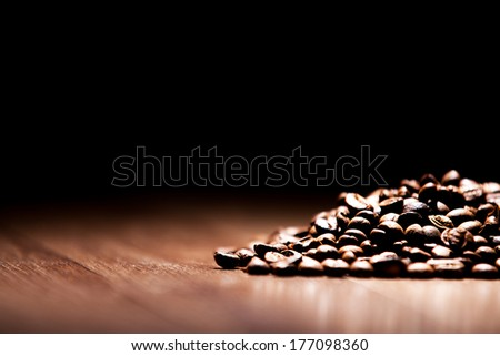 coffee on wooden background - stock photo