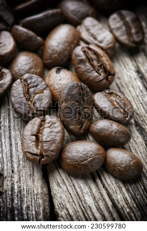 "Coffee on wooden background ""shallow depth of field - stock photo"