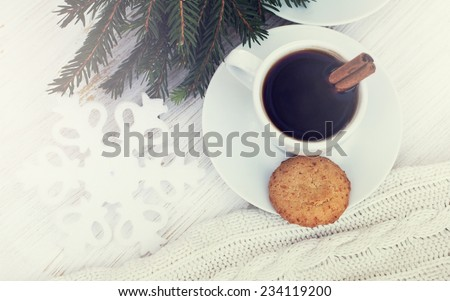 coffee or chocolate with cinnamon and cookies. christmas still life - stock photo