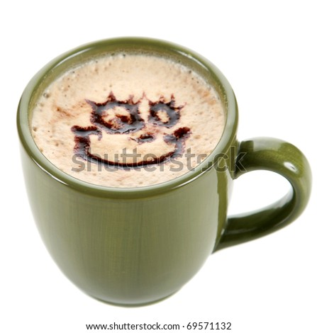"""Coffee or Latte with a """"happy face"""" drawing made of chocolate sauce in the foam on top. isolated on white - stock photo"""