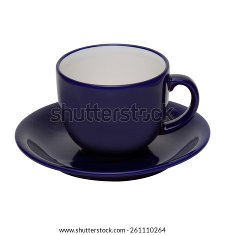 coffee or tea blue cup with saucer isolated on white background - stock photo