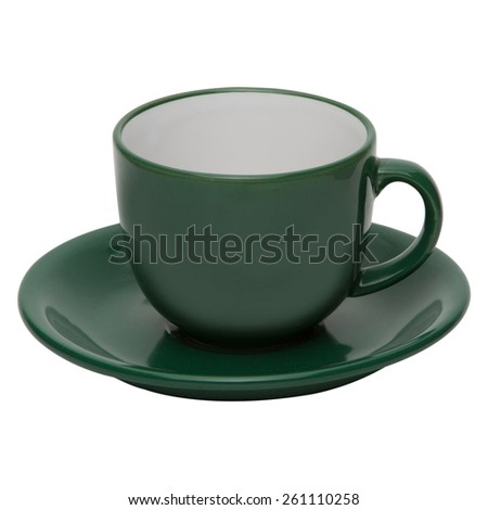 coffee or tea green cup with saucer isolated on white background - stock photo