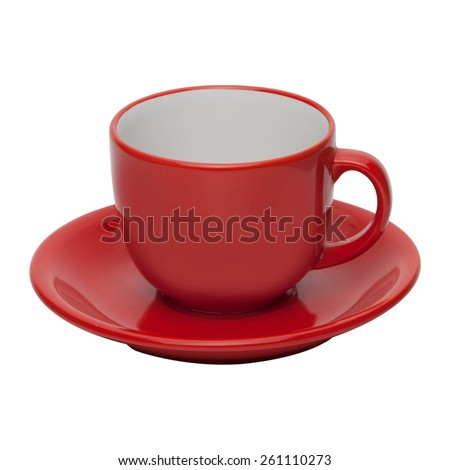 coffee or tea red cup with saucer isolated on white background