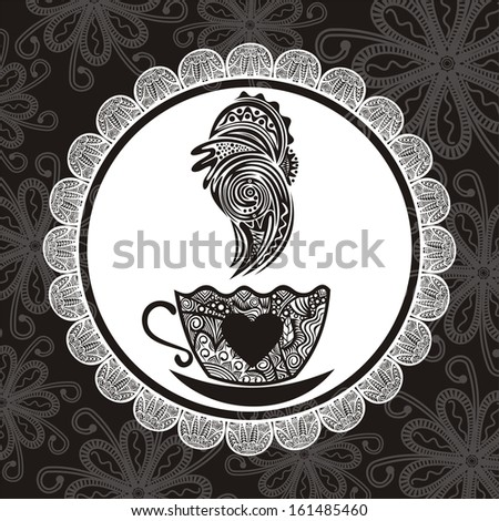 Coffee pattern illustration - stock photo