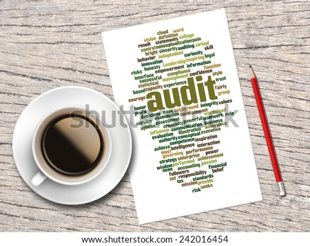 Coffee, Pencil And A Note Contain Word Clouds Of Audit And Its Related Words  - stock photo