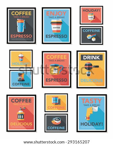 Coffee poster flat banner design flat background set,