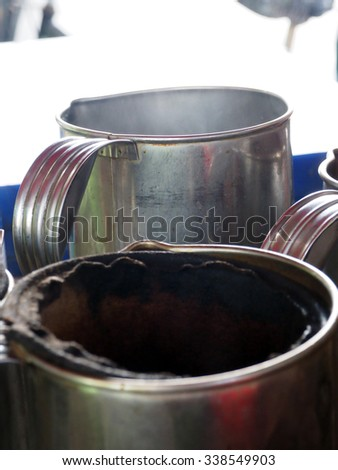 Coffee pot and filter bag coffee traditional of Thailand