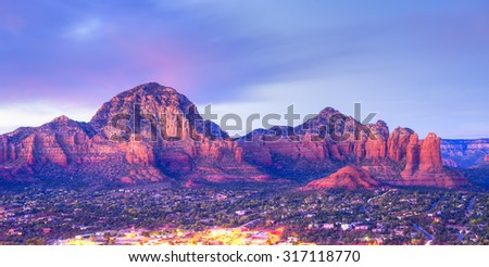 Coffee Pot rock in Sedona at sunset. - stock photo