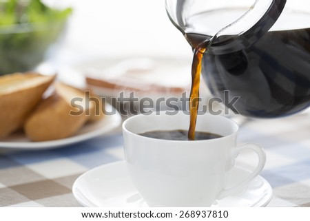 Coffee, pour, breakfast, - stock photo