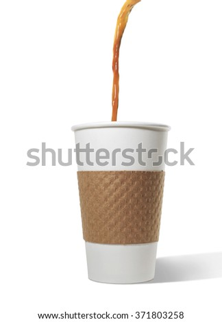 Coffee pouring into paper cup