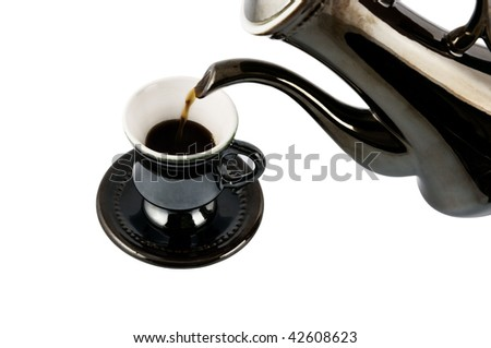 Coffee pouring isolated on white background