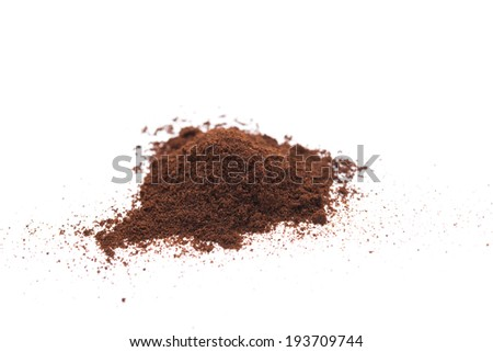 coffee powder on a white background