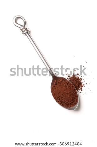 coffee powder on spoon - stock photo