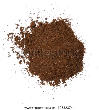 coffee powder on the white background