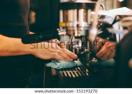 coffee preparation - stock photo