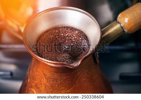 Coffee preparation - stock photo