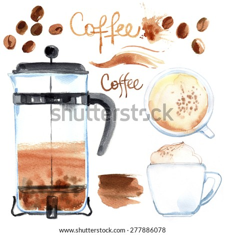 Coffee press painted with watercolors on white background. Figure ink on paper. Coffee beans, cup stains, abstract spots - stock photo