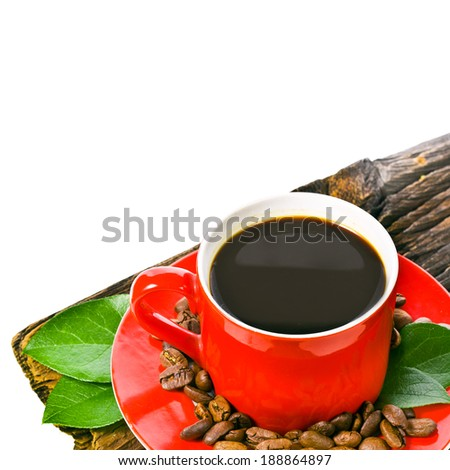 Coffee red cup and coffee bean on an old wooden board  isolated on white background