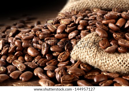 coffee sack and dark background