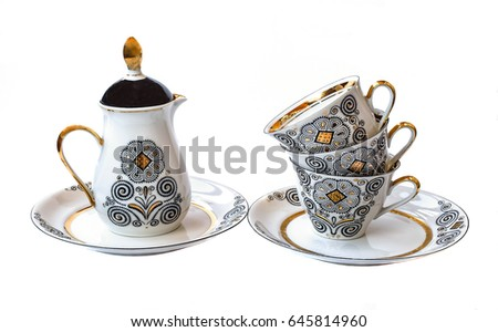 stock photo coffee set porcelain coffee pot cup saucer crockery for coffee 645814960 Plastic Coffee Cups Watercolor Coffee In Plastic Cup Stock Vector Image