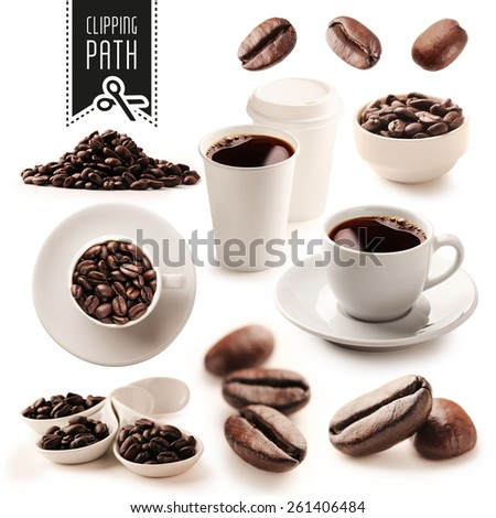 Coffee set with clipping path - stock photo