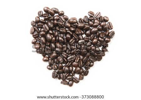 Coffee shape set on white background , heart - stock photo