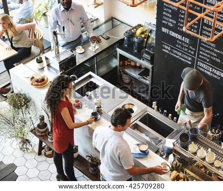 Coffee Shop Bar Counter Cafe Restaurant Relaxation Concept