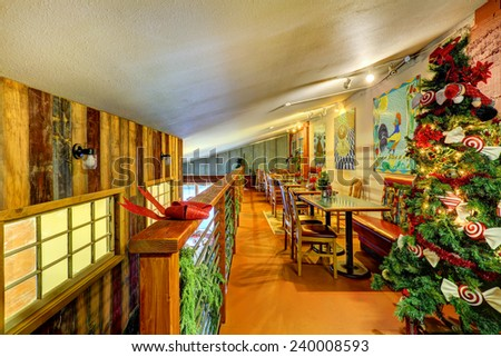 Coffee shop Christmas interior design with art retro decor. Cle Elum, Estern Washington. USA.