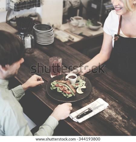 Coffee Shop Sandwich Brunch Serving Concept - stock photo