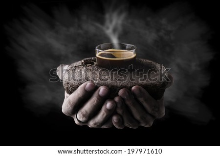Coffee shot, Coffee been,hot espresso and stream in hand. - stock photo