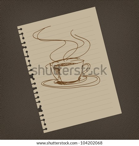 Coffee sign draw on notepaper illustrator