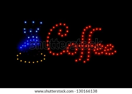 Coffee sign with colorful lights - stock photo