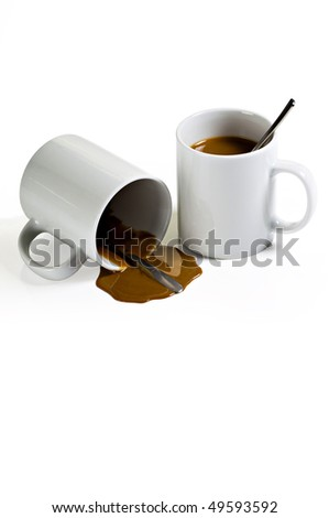 Coffee Spill From Two WHite Mugs on White Background - stock photo