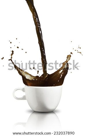 Coffee splash from cup - stock photo