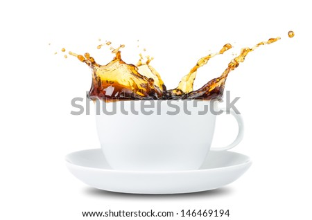 Coffee Splash in a coffee cup before white background - stock photo