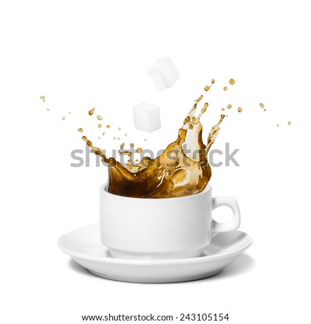 Coffee splash. Sugar cubes being dropped into coffee. Isolated on white. - stock photo